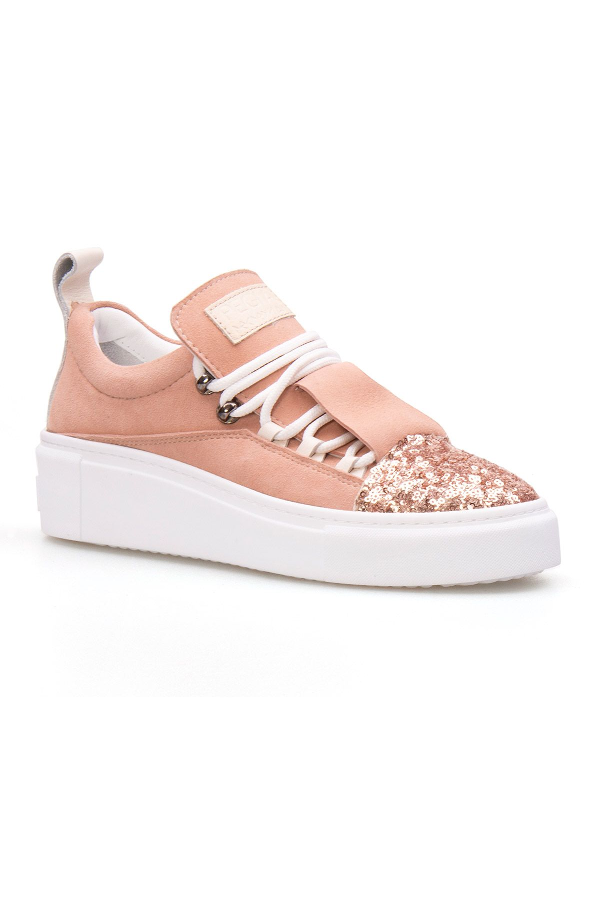 Pegia Genuine Leather Sequined Women's Sneaker LA1704 Powdery