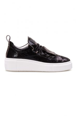 Pegia Genuine Leather Sequined Women's Sneaker LA1705 Black