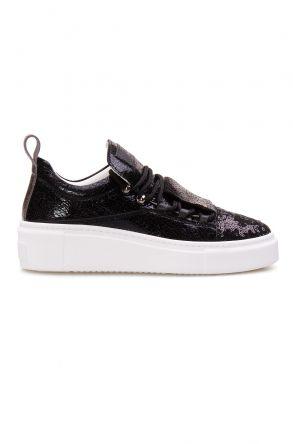 Pegia Hakiki Deri Payetli Kadın Sneaker LA1705 Siyah