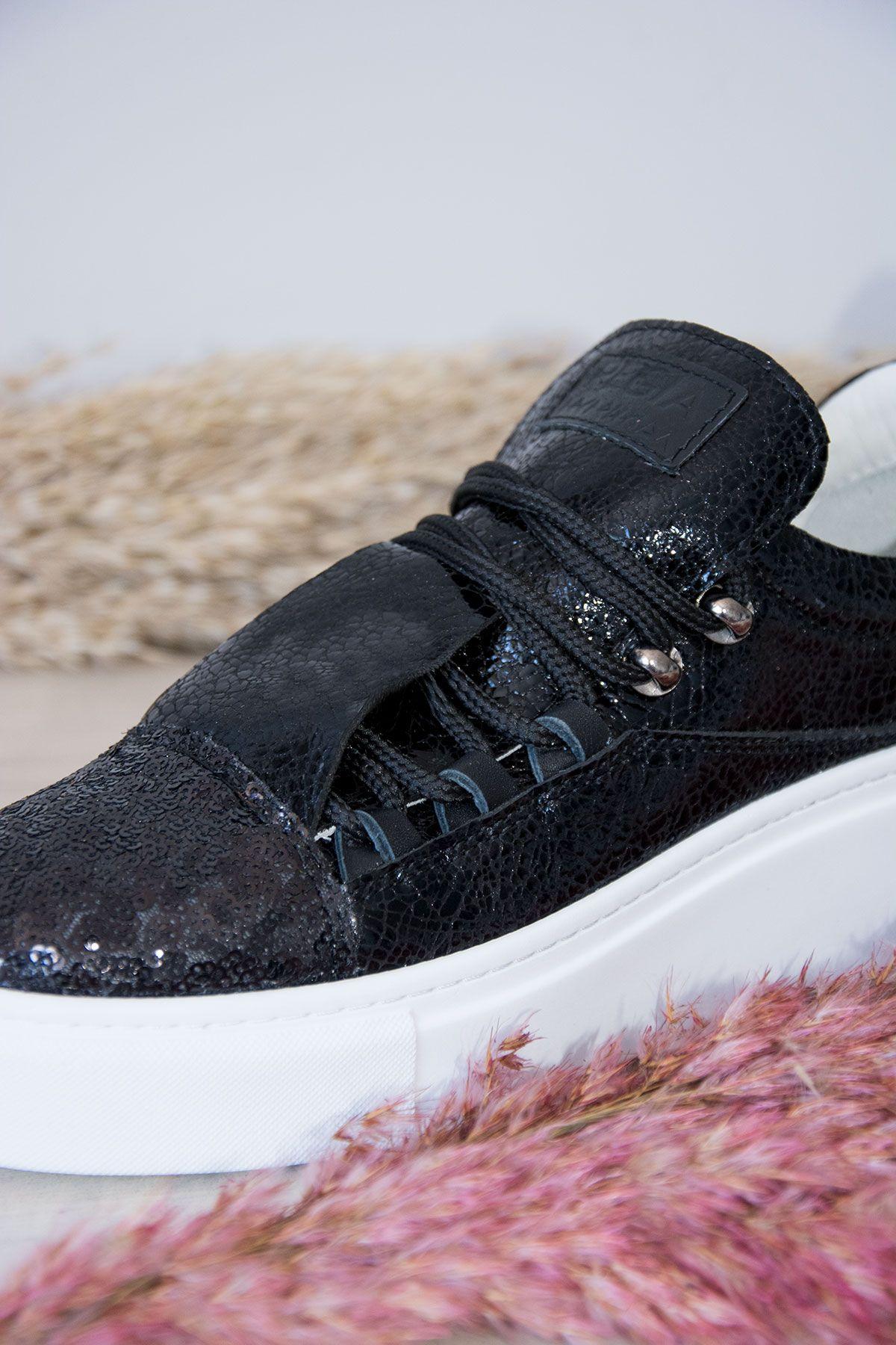 Pegia Genuine Leather Sequined Women's Sneaker LA1705 Black