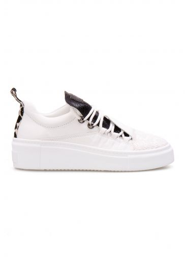 Pegia Genuine Leather Sequined Women's Sneaker LA1706 White