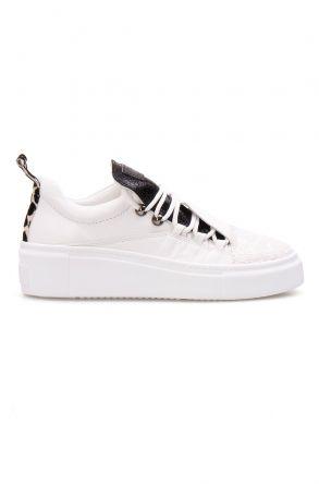 Pegia Hakiki Deri Payetli Kadın Sneaker LA1706 Beyaz