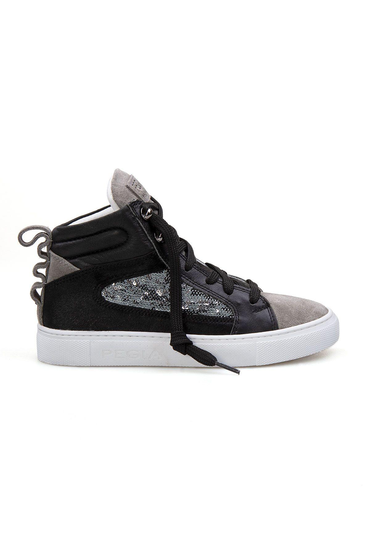Pegia Genuine Leather Sequined Sneaker LA1201 Gray