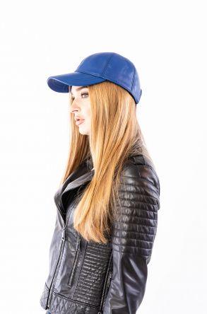 Pegia Hakiki Deri Şapka 19SB12 Mavi