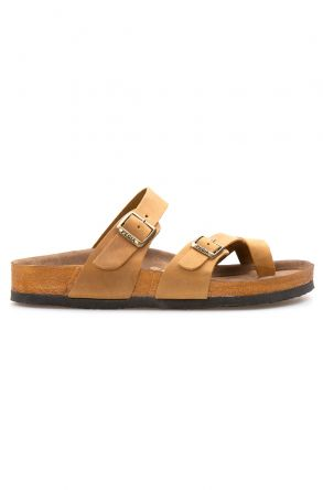 Pegia Genuine Leather Men's Slippers 215012 Sand-colored