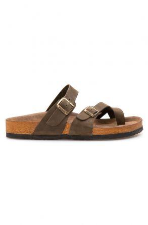 Pegia Genuine Leather Men's Slippers 215012 Khaki