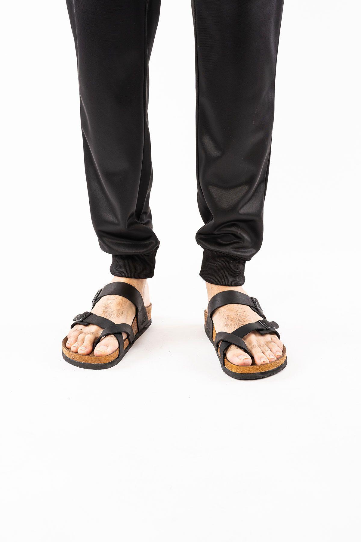 Pegia Genuine Leather Men's Slippers 215012 Black