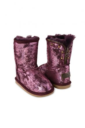 Pegia Vintage Kids Boots From Sheepskin Fur With Zip Claret red