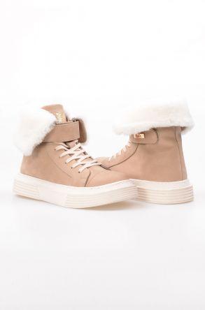 Pegia Hakiki Kürk Astarlı Bayan Deri Sneaker NY2011 Bej
