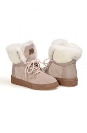 Pegia Genuine Shearling Laced Boots T-391002 Gray