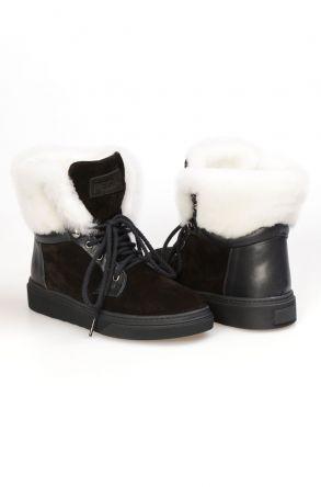 Pegia Замшевые Ботинки с Шнурком T-391002 Черный