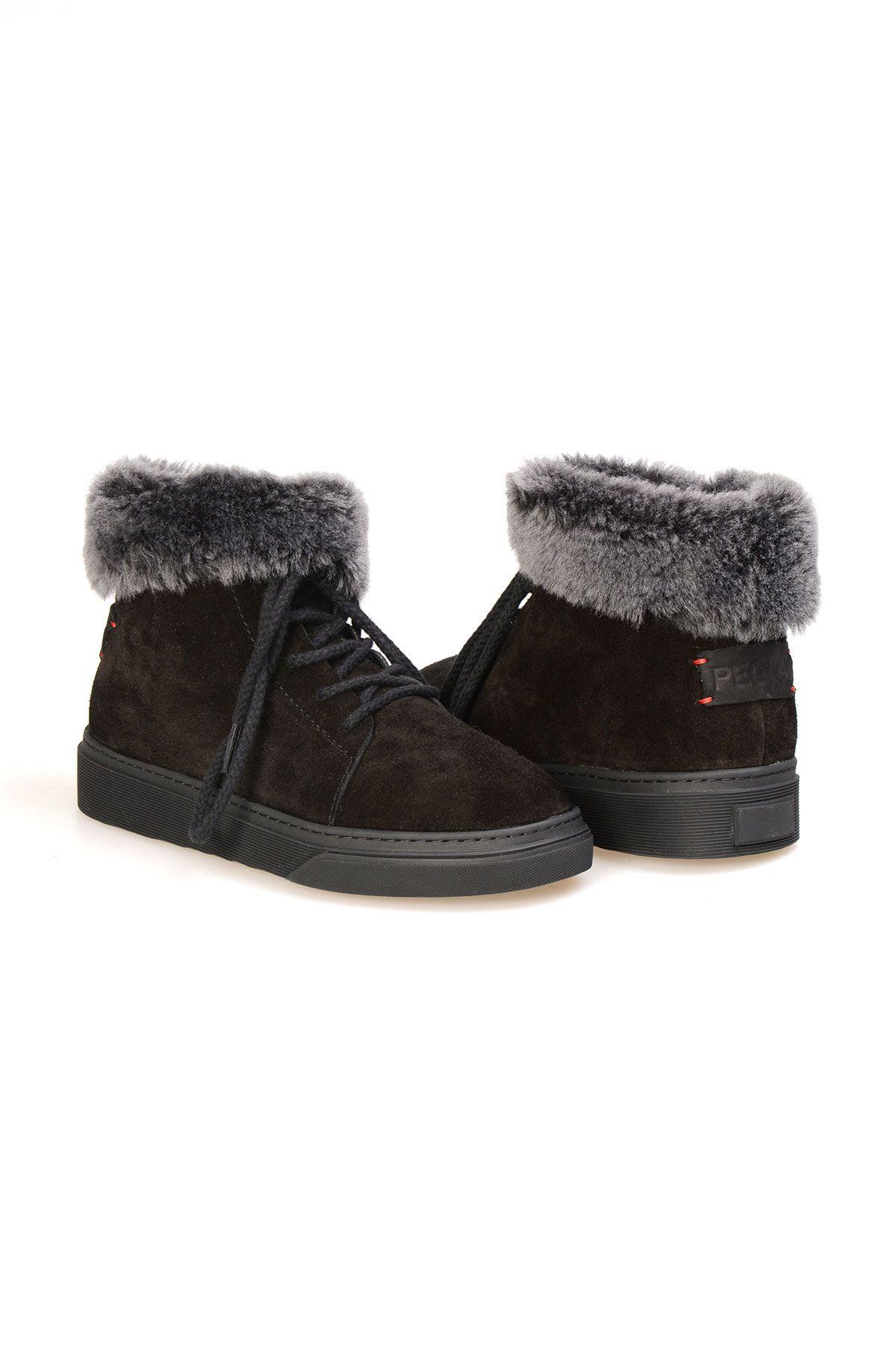 Pegia Genuine Sheepskin Laced Boots T-391006 Black