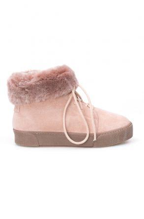 Pegia Genuine Sheepskin Laced Boots T-391006 Powdery