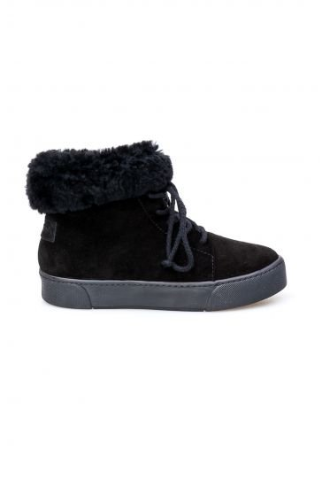 Pegia Genuine Sheepskin Laced Boots T-391006 Black
