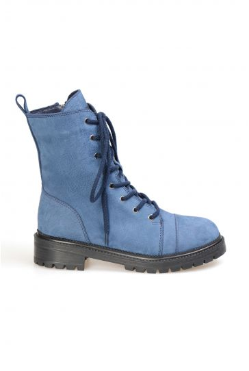 Pegia Genuine Sheepskin Laced Boots T-391021 Navy blue