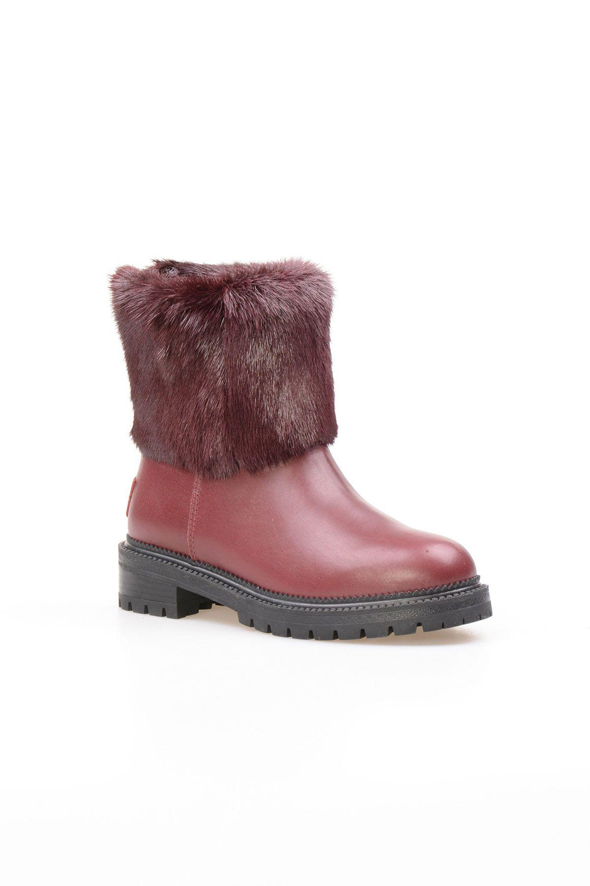 Pegia Женские Меховые Ботинки NY7001 Бордовый