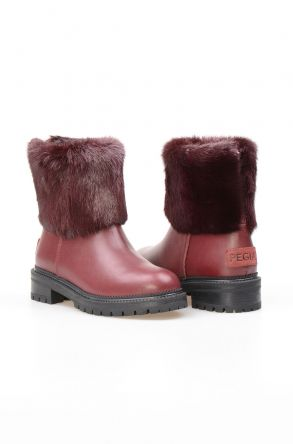Pegia Genuine Sheepskin Women's Boots NY7001 Claret red
