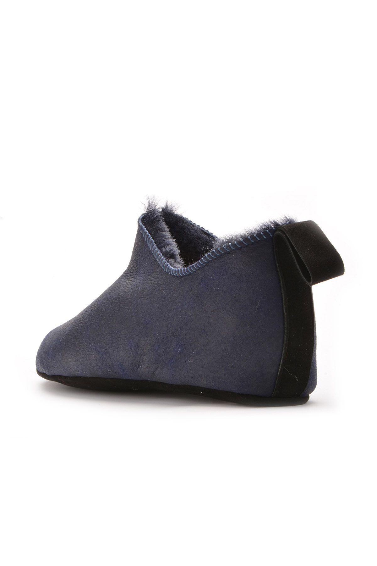 Pegia Hakiki Kürk Bayan Ev Ayakkabısı 101097 Lacivert
