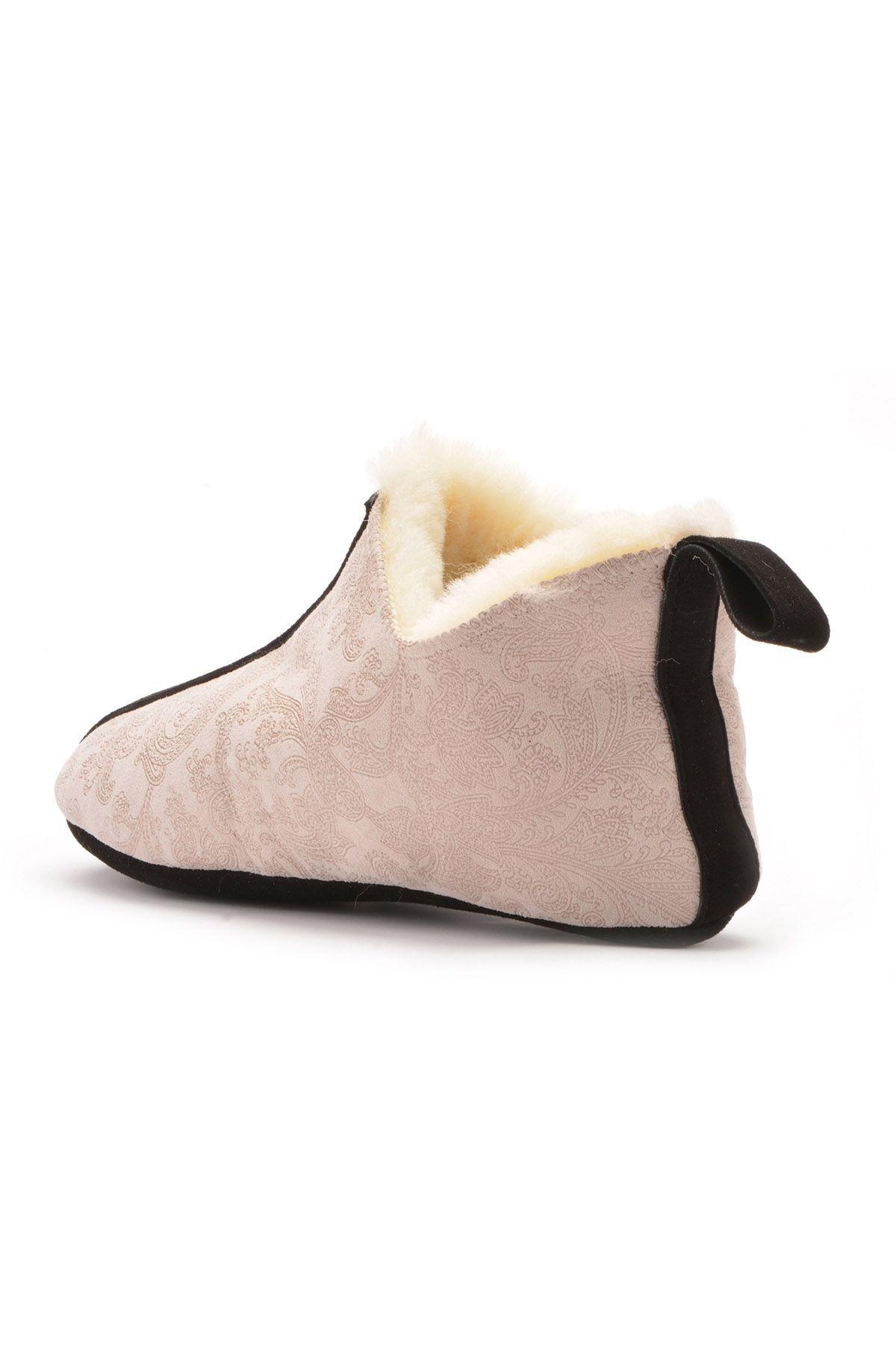 Pegia Hakiki Kürk Bayan Ev Ayakkabısı 101097 Bej