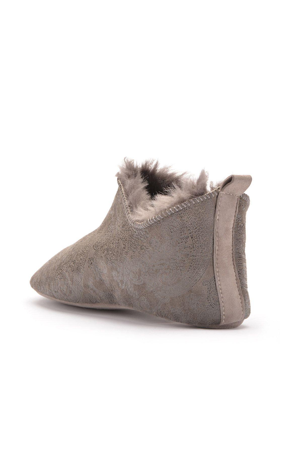Pegia Hakiki Kürk Bayan Ev Ayakkabısı 101297 Gri