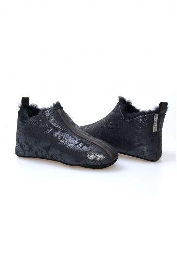 Pegia Hakiki Kürk Bayan Ev Ayakkabısı 101297 Siyah