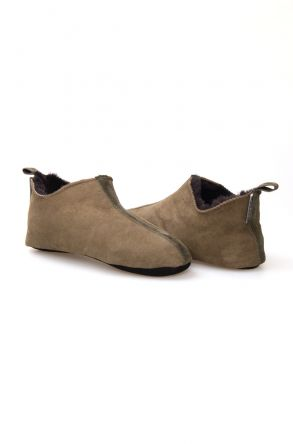 Pegia Women Sheepskin House Slippers 980456 Khaki