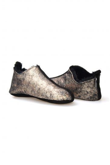 Pegia Hakiki Kürk Bayan Ev Ayakkabısı 980465 Bronz