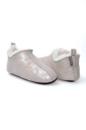 Pegia Hakiki Kürk Bayan Ev Ayakkabısı 980505 Vizon