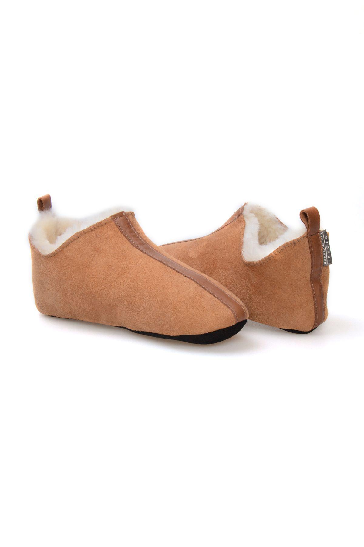 Pegia Hakiki Kürk Bayan Ev Ayakkabısı 980521 Taba