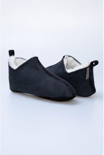 Pegia Hakiki Kürk Bayan Ev Ayakkabısı 980524 Lacivert