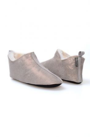 Pegia Hakiki Kürk Bayan Ev Ayakkabısı 980531 Gümüş