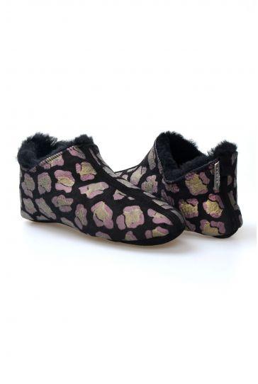 Pegia Hakiki Kürk Bayan Ev Ayakkabısı 980540 Siyah