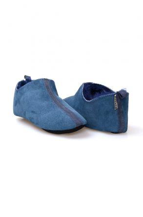 Pegia Hakiki Kürk Bayan Ev Ayakkabısı 980542 Açık Mavi