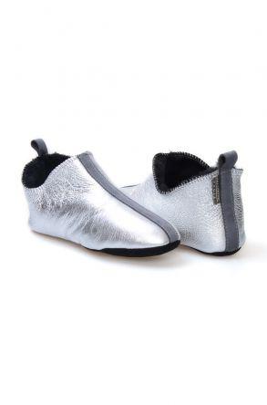 Pegia Hakiki Kürk Bayan Ev Ayakkabısı 980545 Gümüş