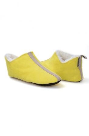 Pegia Hakiki Kürk Bayan Ev Ayakkabısı 980561 Sarı