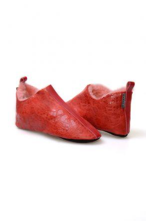 Pegia Hakiki Kürk Bayan Ev Ayakkabısı 980568 Kırmızı