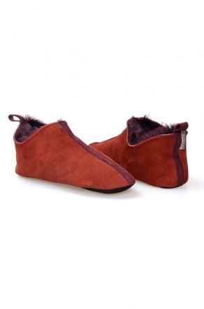 Pegia Genuine Sheepskin Women House Shoes 980570 Claret red