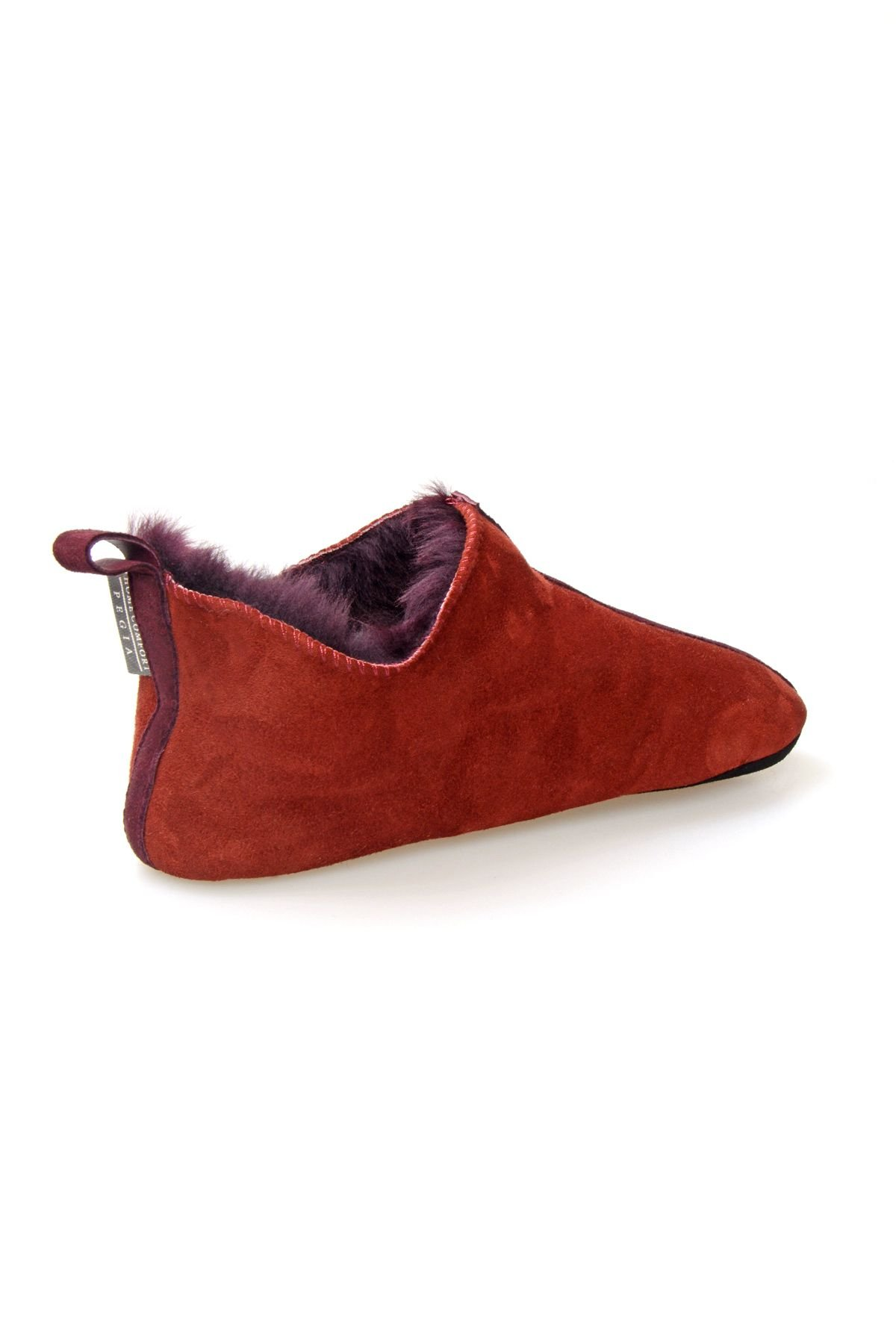Pegia Hakiki Kürk Bayan Ev Ayakkabısı 980570 Bordo