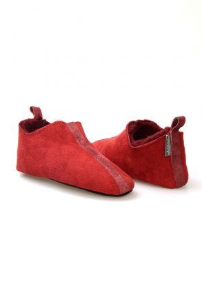 Pegia Hakiki Kürk Bayan Ev Ayakkabısı 980571 Bordo