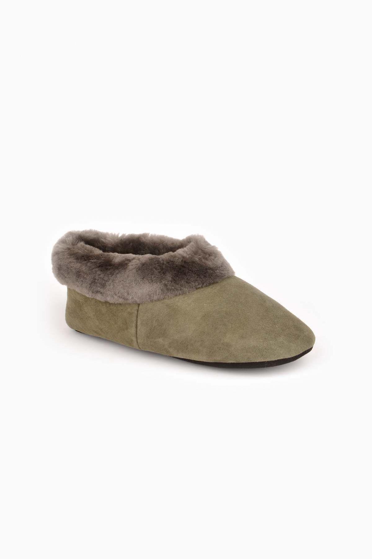Pegia Hakiki Kürk Bayan Ev Ayakkabısı 990309 Haki