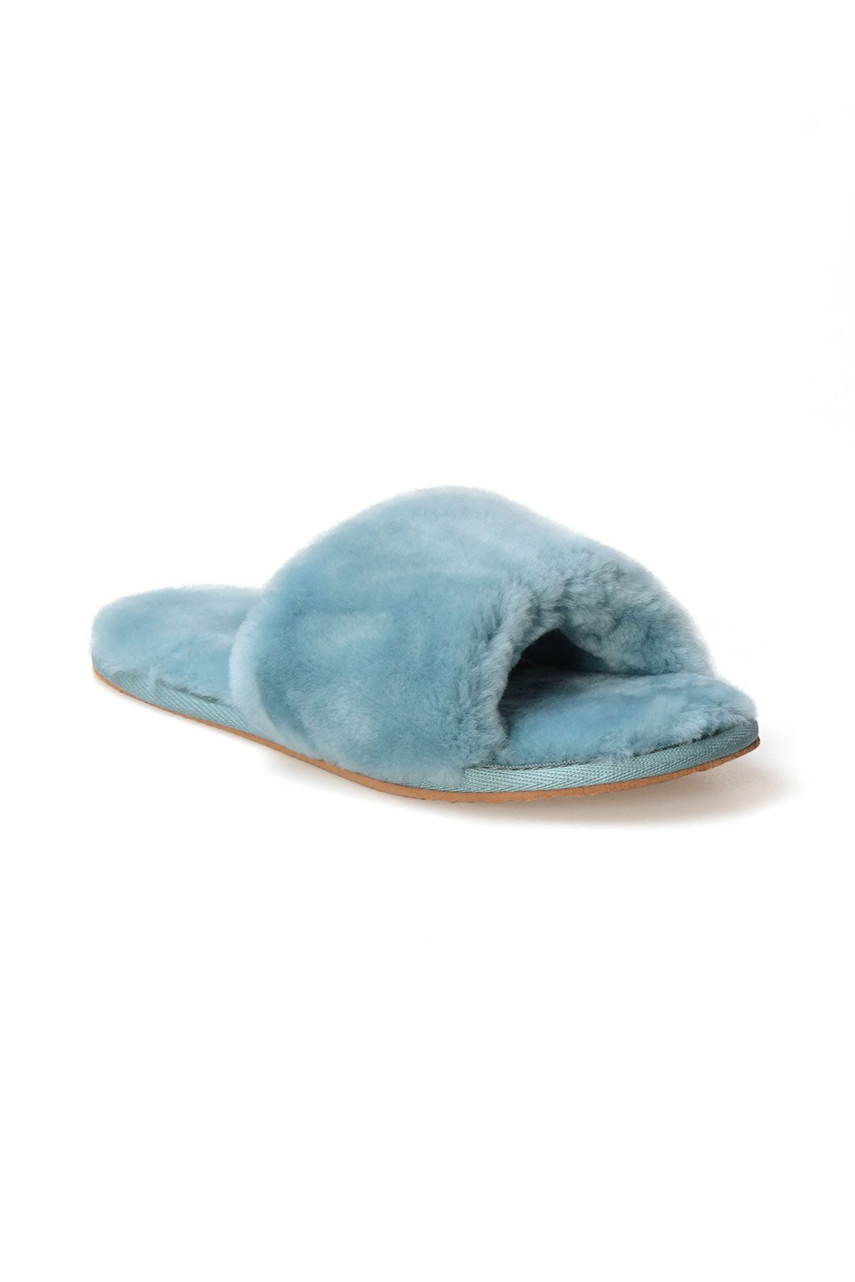 Pegia Women House Slippers From Genuine Suede And Sheepskin 191090 Blue