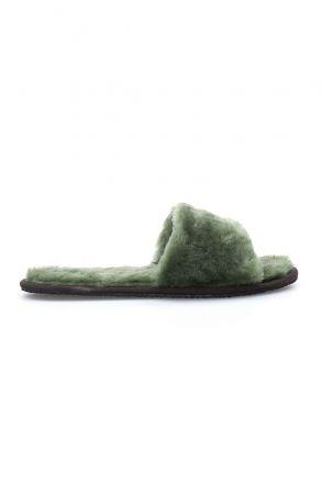 Pegia Hakiki Kürk Bayan Ev Terliği 191090 Yeşil