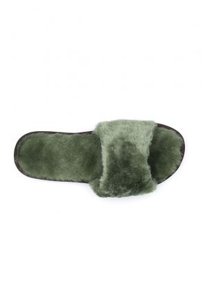 Pegia Women House Slippers From Genuine Suede And Sheepskin 191090 Green