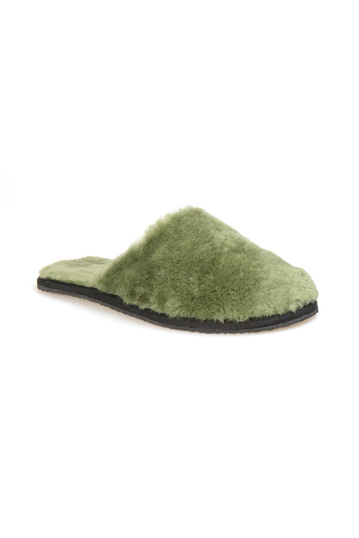 Pegia Hakiki Kürk Bayan Ev Terliği 191092 Yeşil