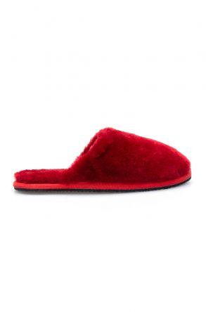 Pegia Hakiki Kürk Bayan Ev Terliği 191092 Kırmızı