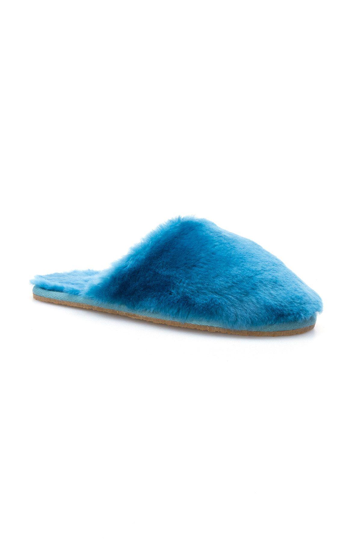 Pegia Hakiki Kürk Bayan Ev Terliği 191092 Mavi