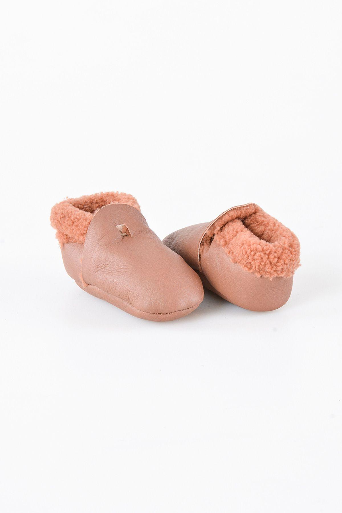 Pegia Hakiki Kürk Bebek Patiği 143004 Taba