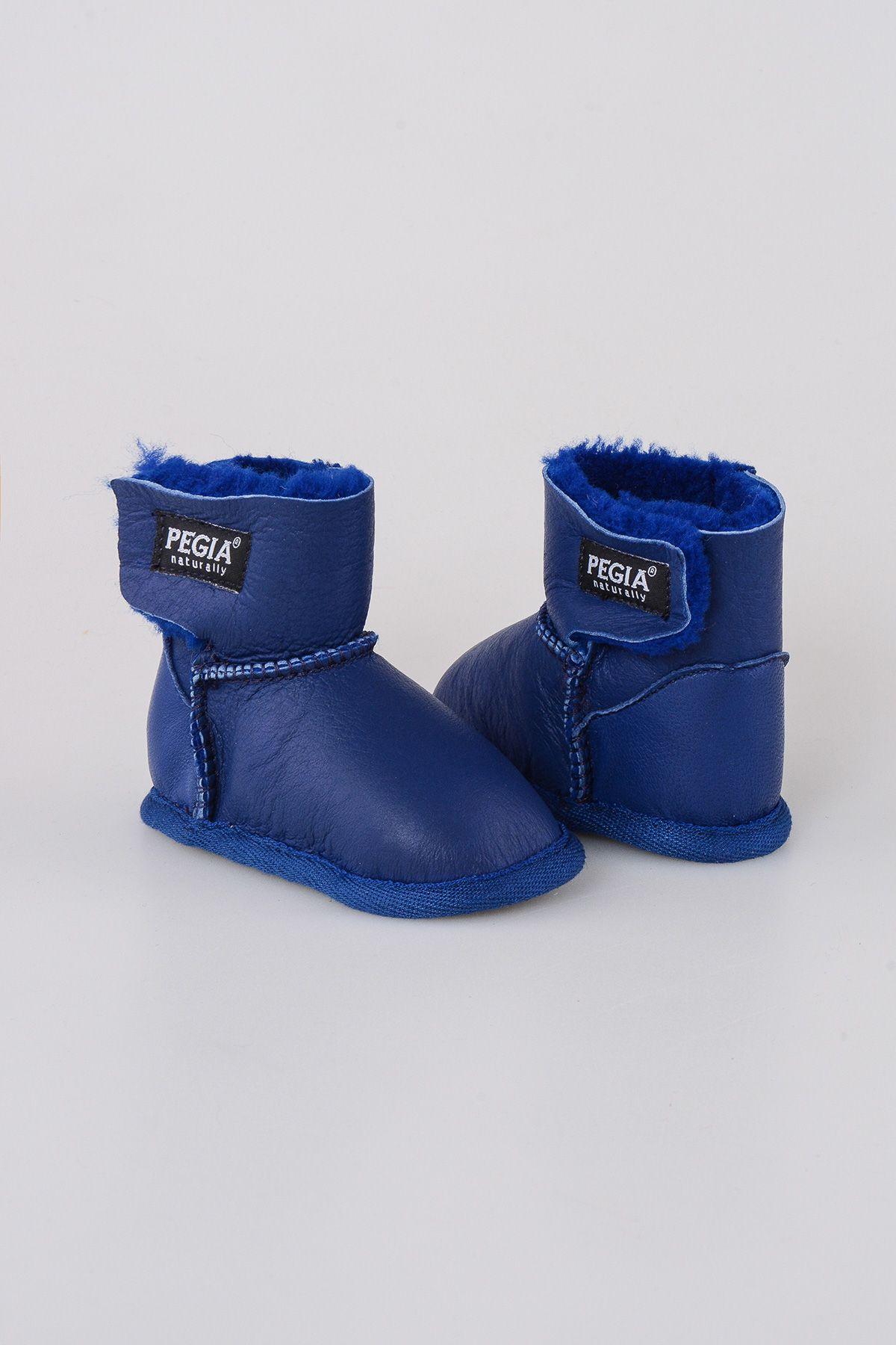 Pegia Hakiki Kürk Bebek Patiği 143005 Mavi