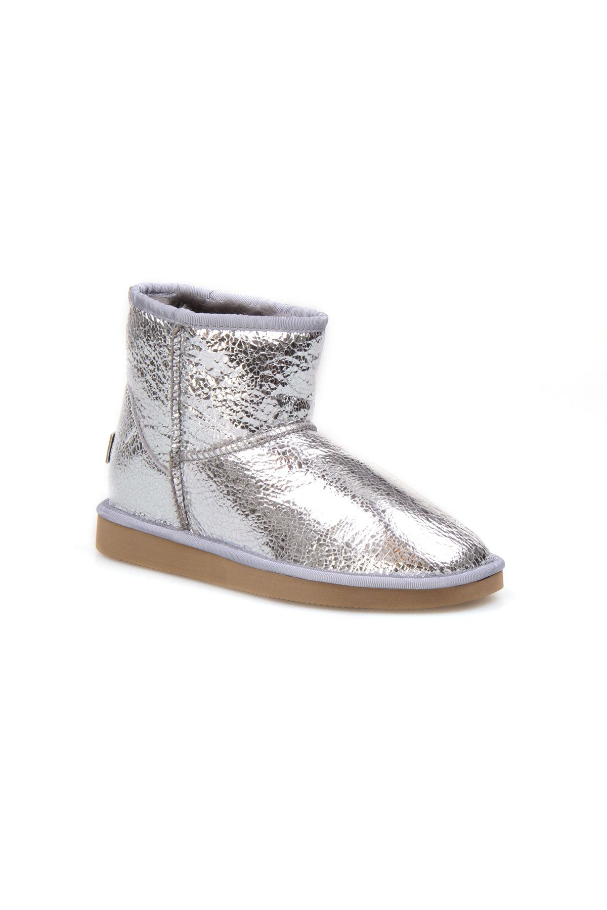 Pegia Genuine Shearling Glass Fracture Women's Ankle Boots 191027 Silver