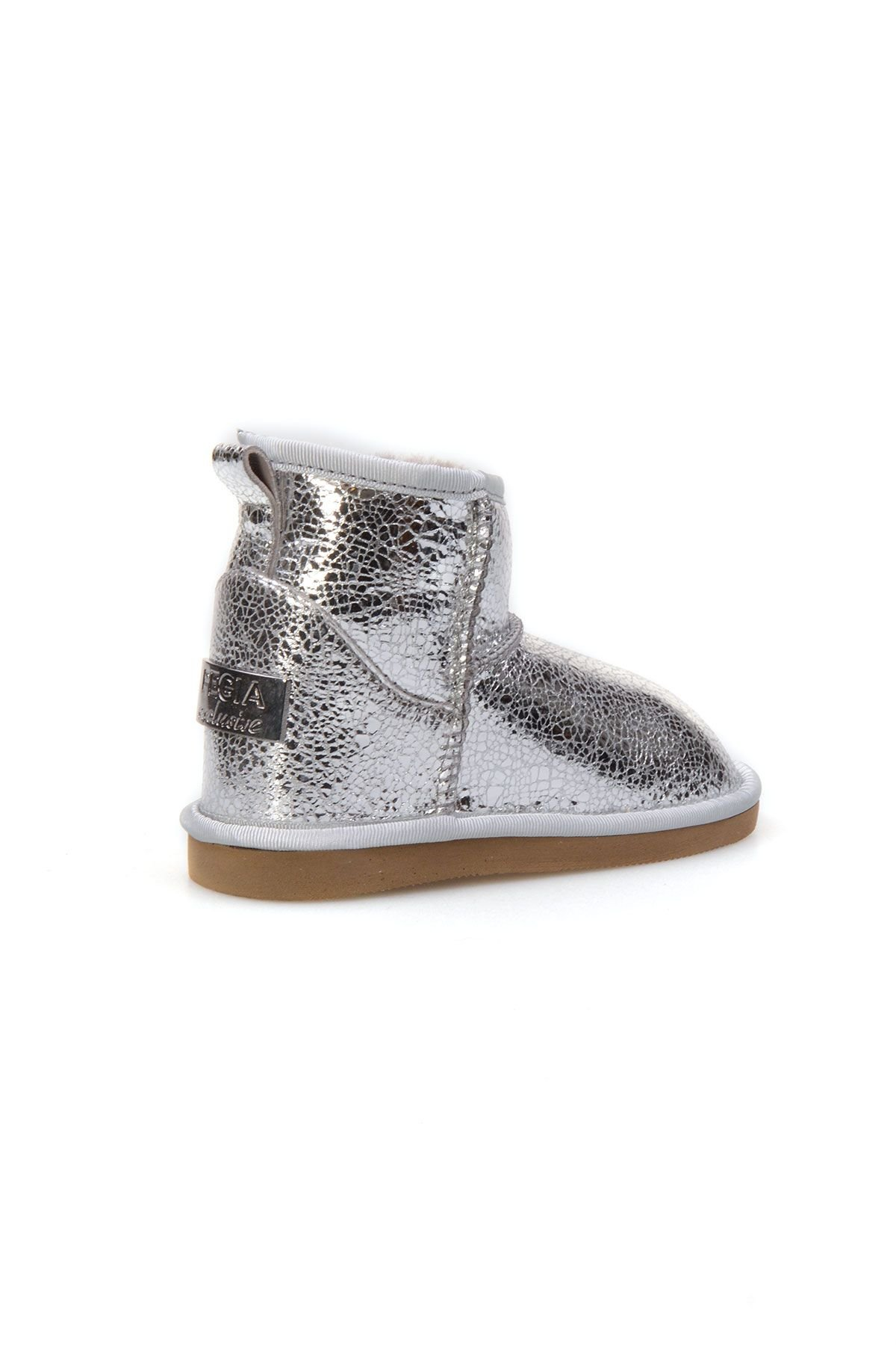 Pegia Genuine Shearling Kids' Boots With Pattern 181017 Silver